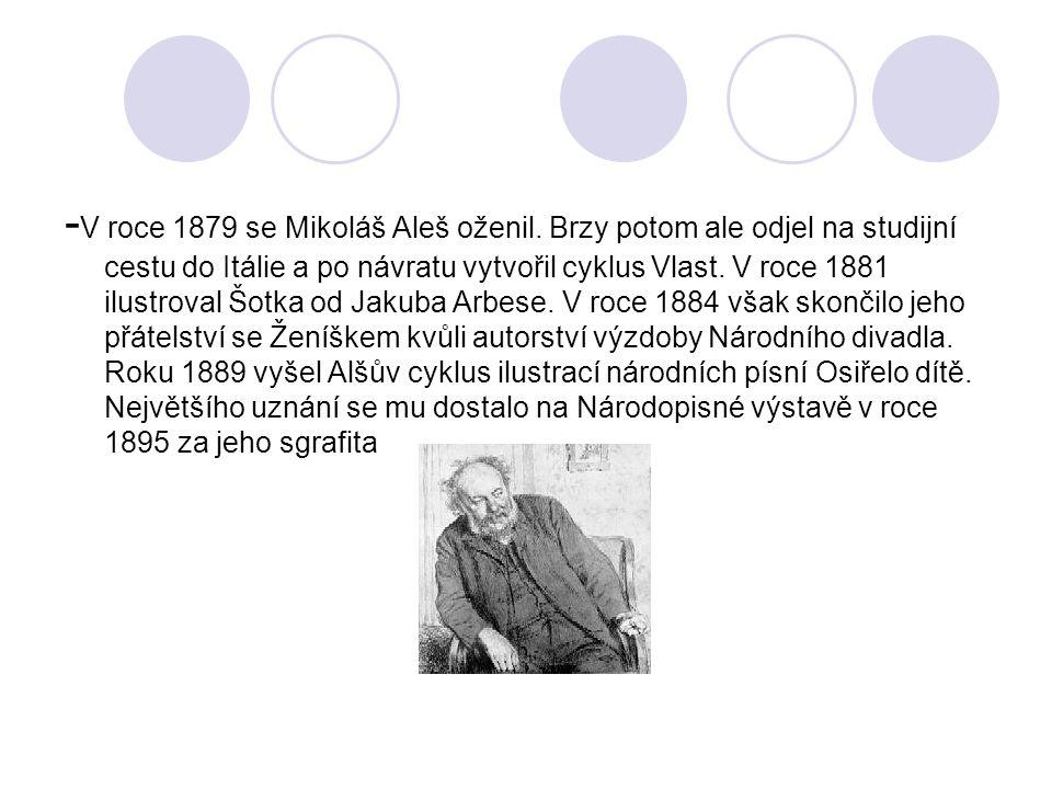 -V roce 1879 se Mikoláš Aleš oženil