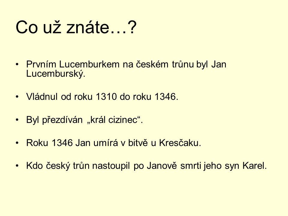 Co už znáte… Prvním Lucemburkem na českém trůnu byl Jan Lucemburský.