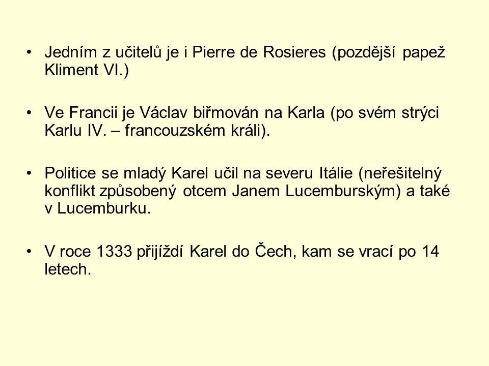 Jedním z učitelů je i Pierre de Rosieres (pozdější papež Kliment VI.)