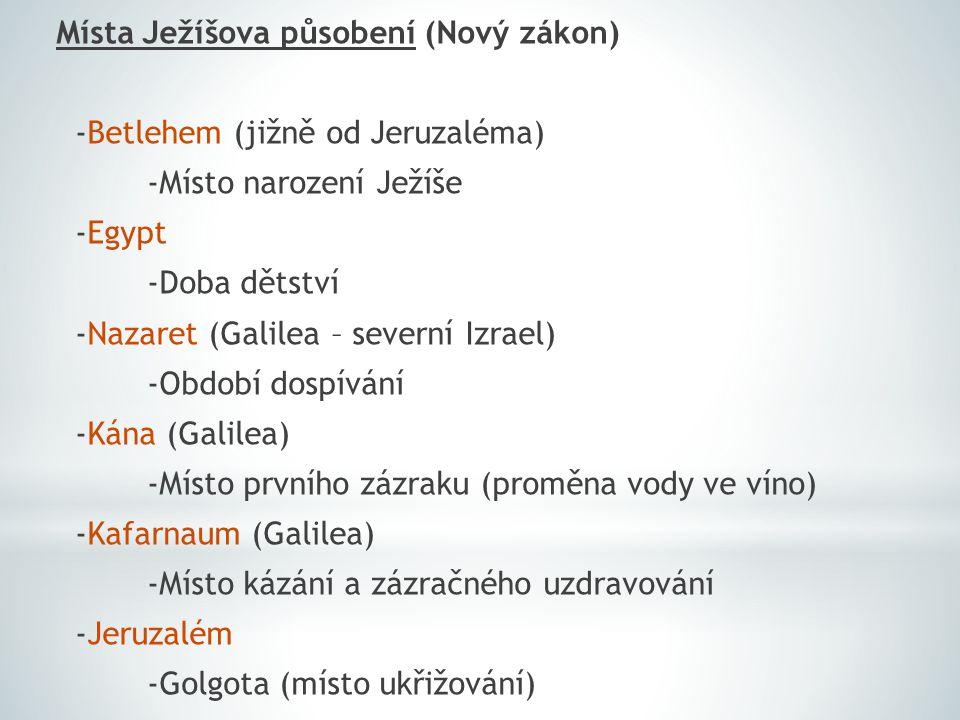 Místa Ježíšova působení (Nový zákon) -Betlehem (jižně od Jeruzaléma) -Místo narození Ježíše -Egypt -Doba dětství -Nazaret (Galilea – severní Izrael) -Období dospívání -Kána (Galilea) -Místo prvního zázraku (proměna vody ve víno) -Kafarnaum (Galilea) -Místo kázání a zázračného uzdravování -Jeruzalém -Golgota (místo ukřižování)
