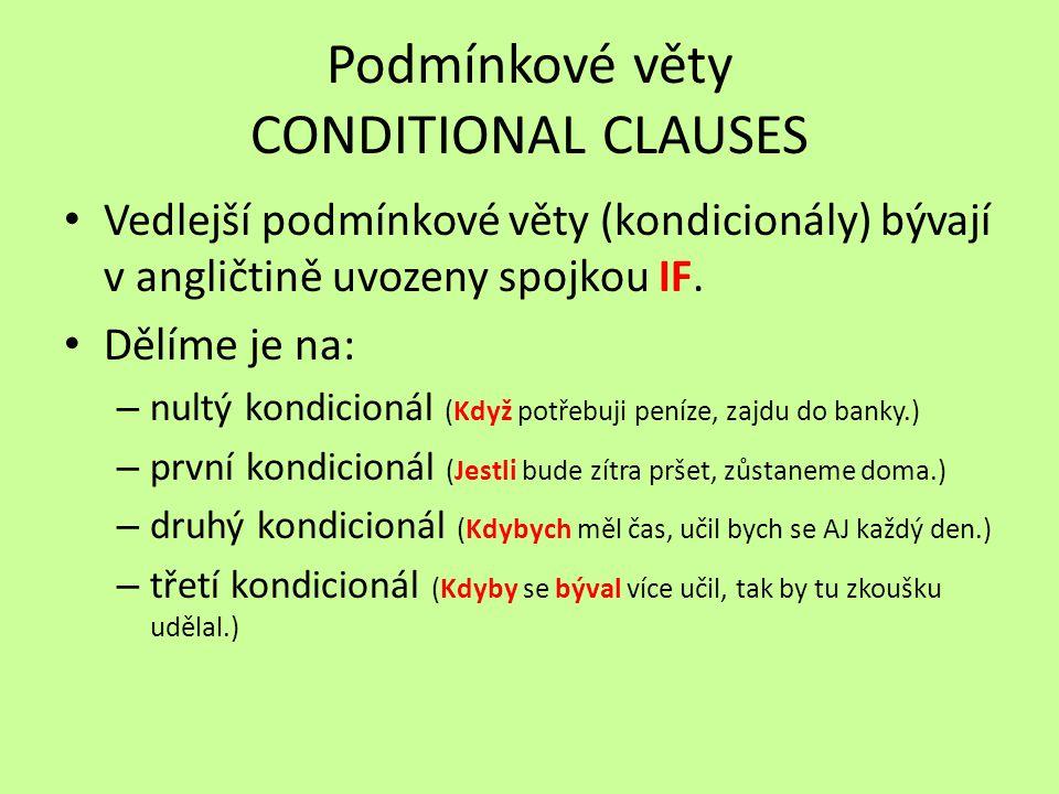 Podmínkové věty CONDITIONAL CLAUSES