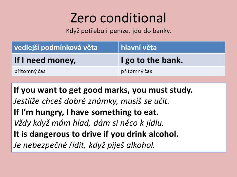 Zero conditional Když potřebuji peníze, jdu do banky.
