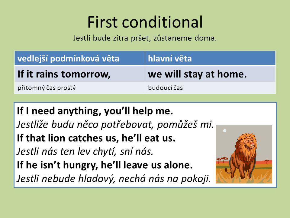 First conditional Jestli bude zítra pršet, zůstaneme doma.