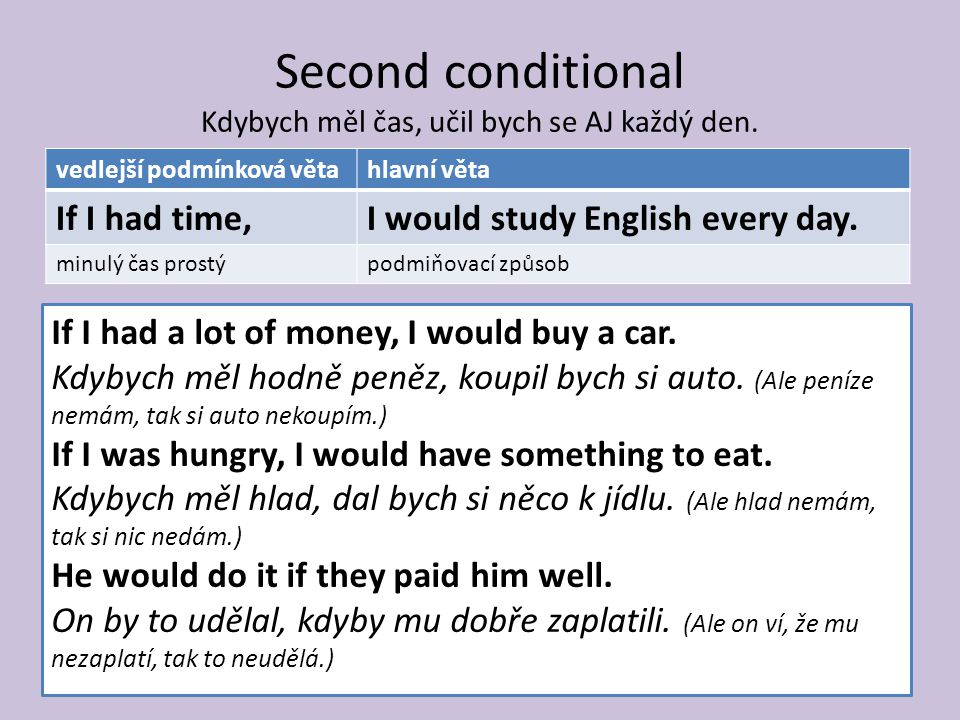 Second conditional Kdybych měl čas, učil bych se AJ každý den.