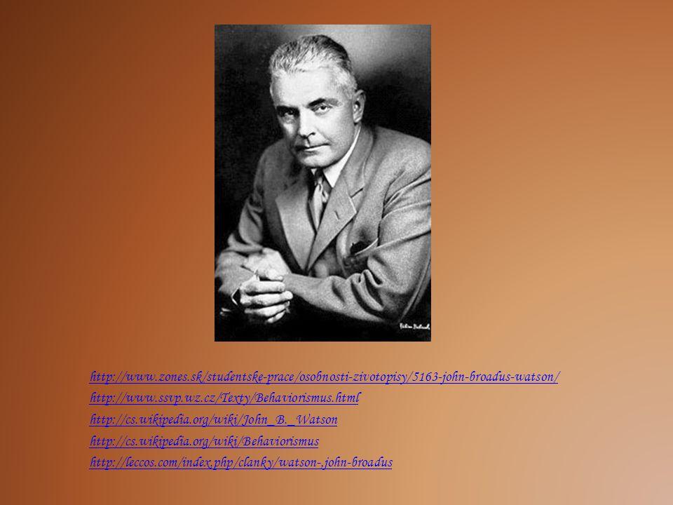 http://www.zones.sk/studentske-prace/osobnosti-zivotopisy/5163-john-broadus-watson/ http://www.ssvp.wz.cz/Texty/Behaviorismus.html.