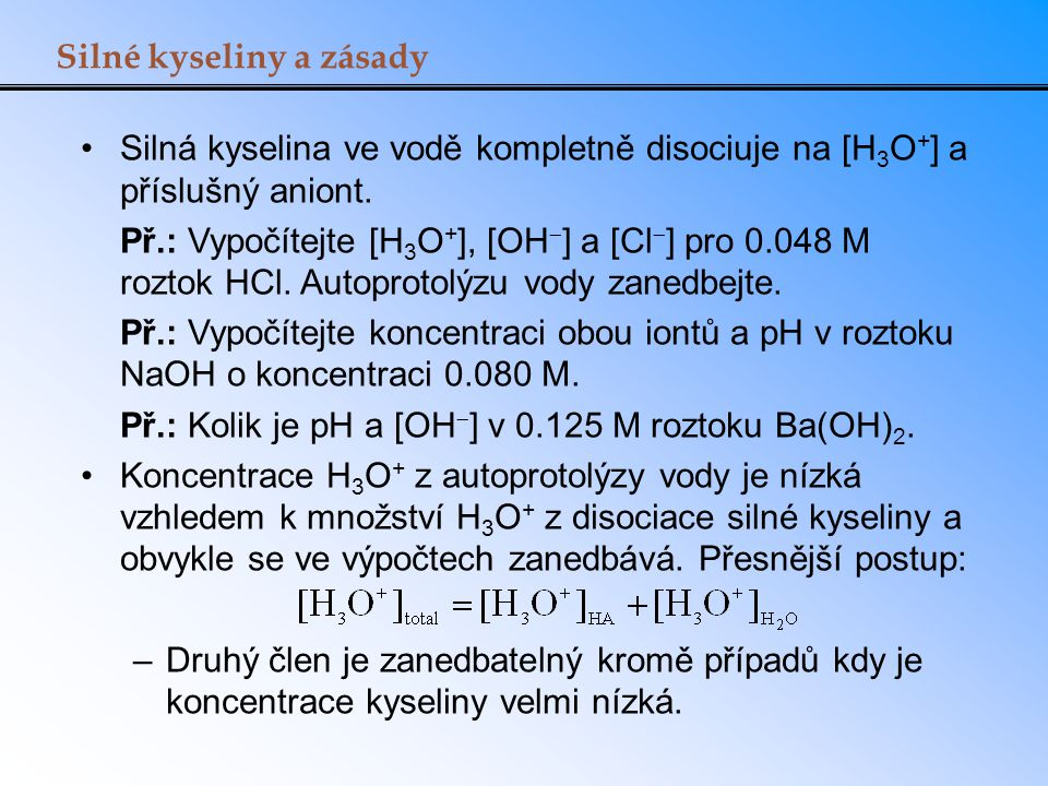 Silné kyseliny a zásady