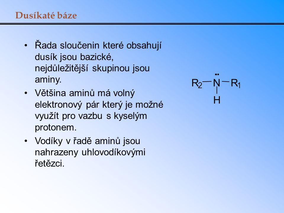 Dusíkaté báze Řada sloučenin které obsahují dusík jsou bazické, nejdůležitější skupinou jsou aminy.