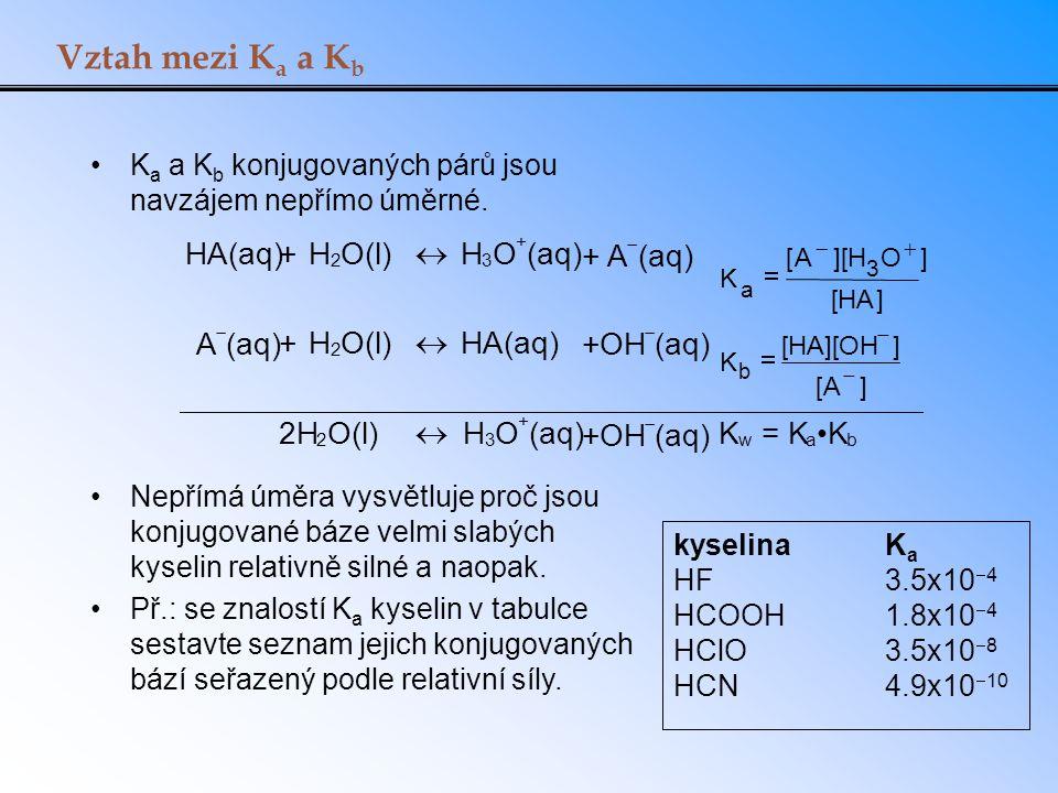 Vztah mezi Ka a Kb HA(aq) + H O(l) « O (aq) + A +OH 2H = K •K