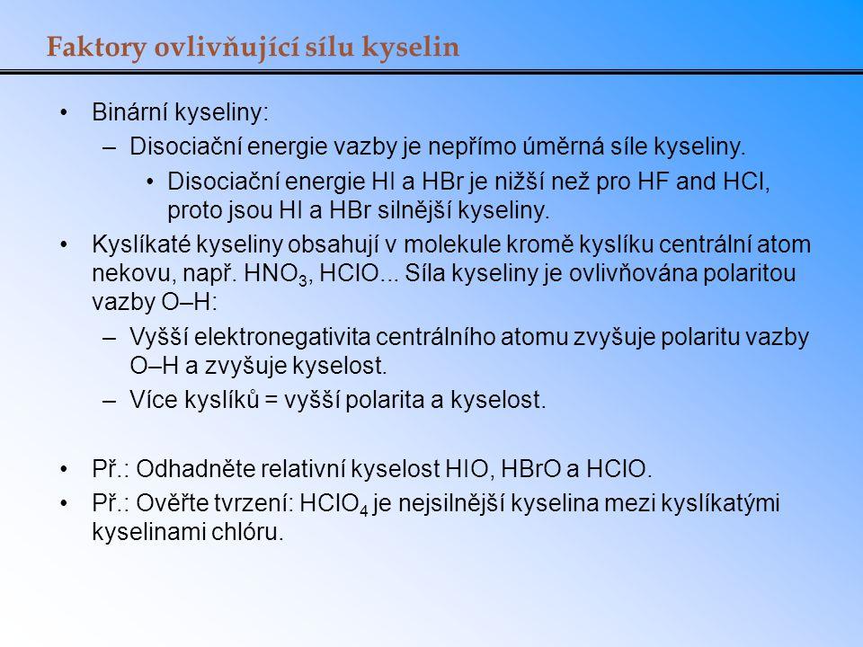 Faktory ovlivňující sílu kyselin