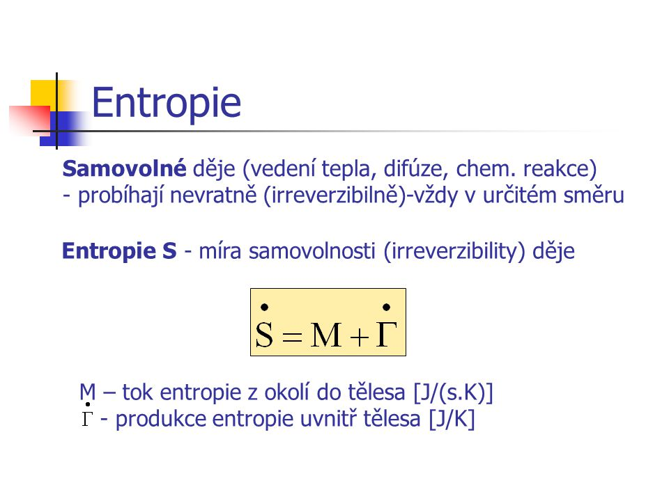 Entropie S - míra samovolnosti (irreverzibility) děje