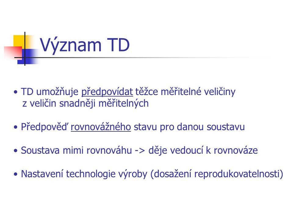 Význam TD TD umožňuje předpovídat těžce měřitelné veličiny