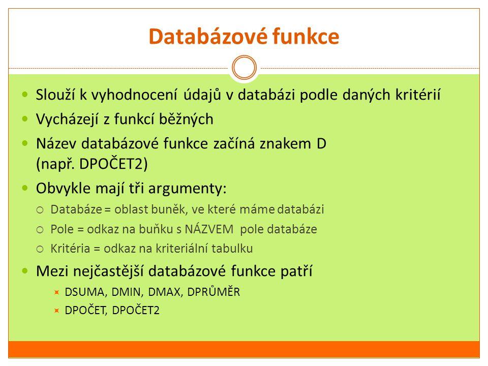 Databázové funkce Slouží k vyhodnocení údajů v databázi podle daných kritérií. Vycházejí z funkcí běžných.