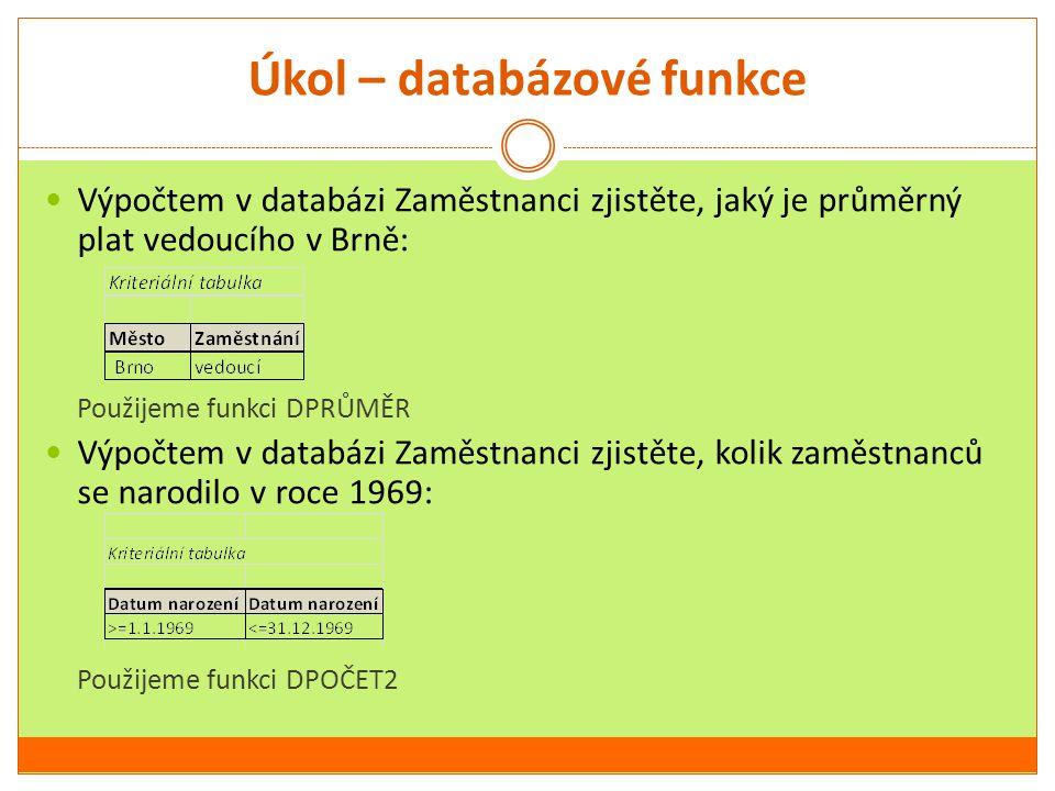 Úkol – databázové funkce