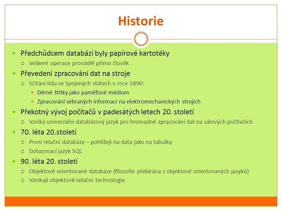 Historie Předchůdcem databází byly papírové kartotéky