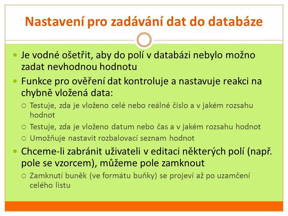 Nastavení pro zadávání dat do databáze