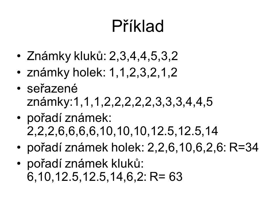 Příklad Známky kluků: 2,3,4,4,5,3,2 známky holek: 1,1,2,3,2,1,2
