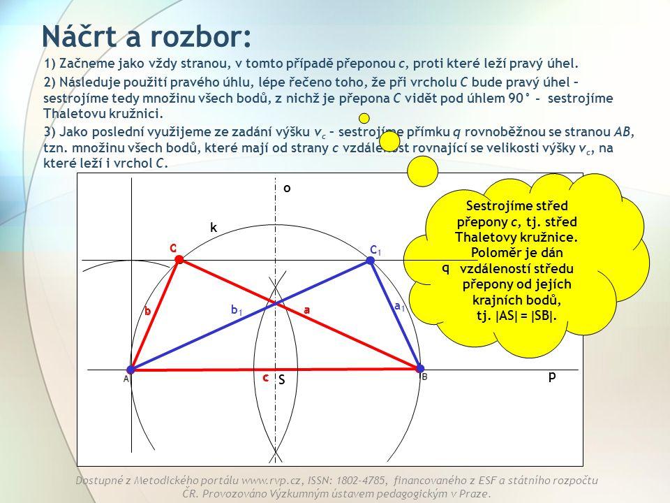 Náčrt a rozbor: 1) Začneme jako vždy stranou, v tomto případě přeponou c, proti které leží pravý úhel.