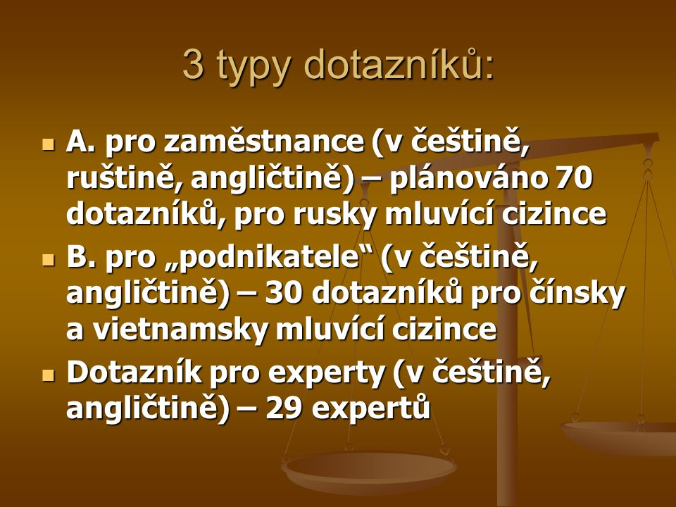 3 typy dotazníků: A. pro zaměstnance (v češtině, ruštině, angličtině) – plánováno 70 dotazníků, pro rusky mluvící cizince.