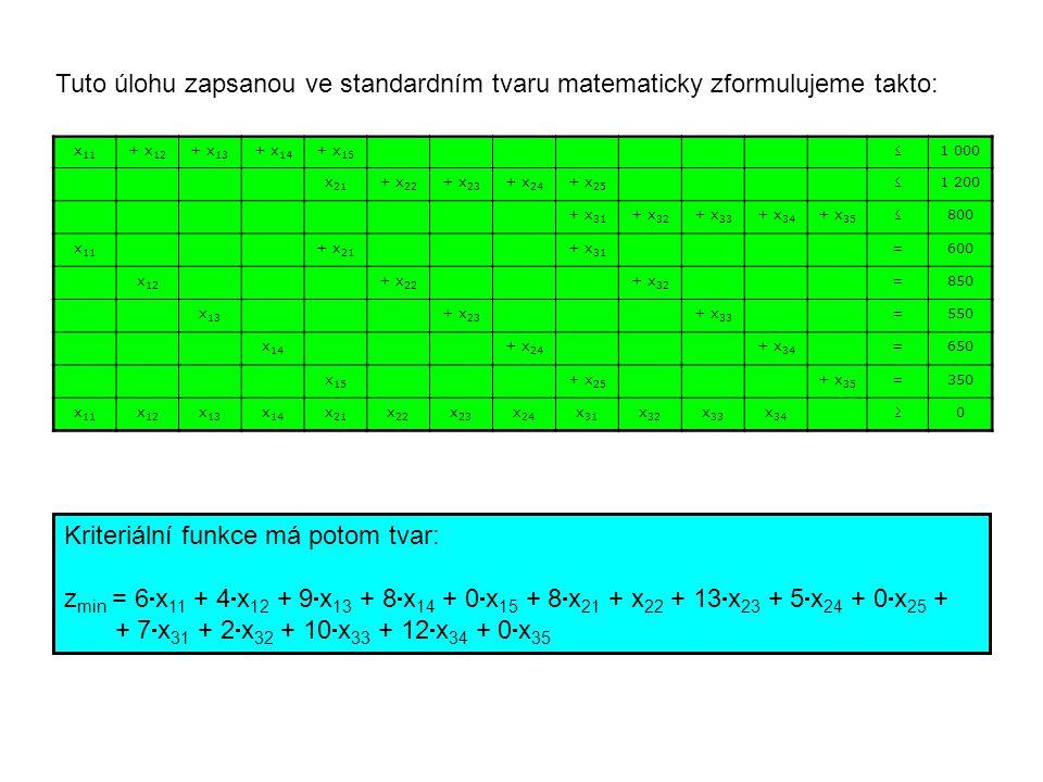 Kriteriální funkce má potom tvar: