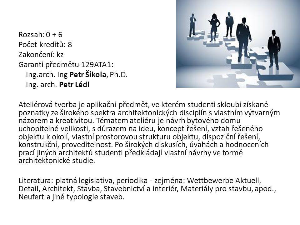 Rozsah: 0 + 6 Počet kreditů: 8. Zakončení: kz. Garanti předmětu 129ATA1: Ing.arch. Ing Petr Šikola, Ph.D.