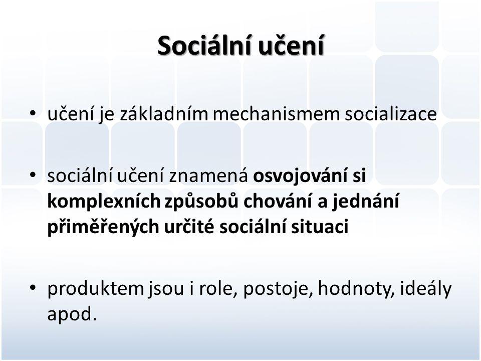 Sociální učení učení je základním mechanismem socializace
