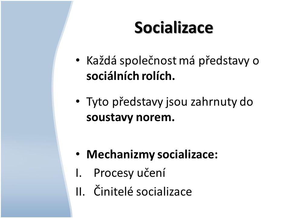 Socializace Každá společnost má představy o sociálních rolích.