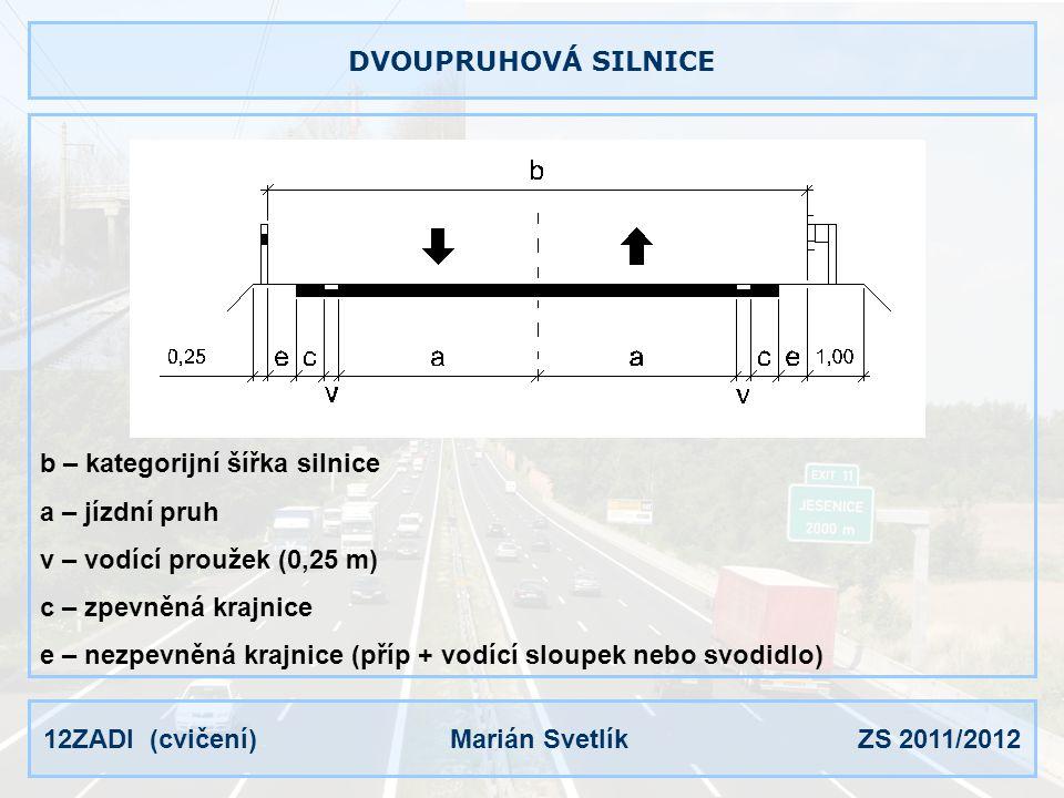 DVOUPRUHOVÁ SILNICE b – kategorijní šířka silnice. a – jízdní pruh. v – vodící proužek (0,25 m) c – zpevněná krajnice.