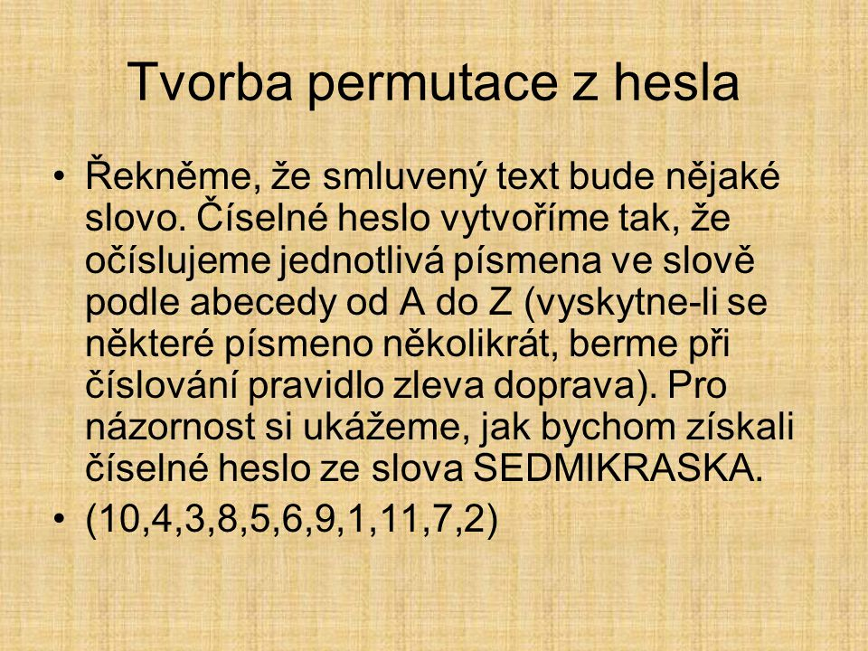 Tvorba permutace z hesla