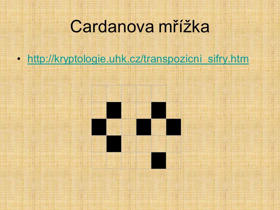 Cardanova mřížka http://kryptologie.uhk.cz/transpozicni_sifry.htm