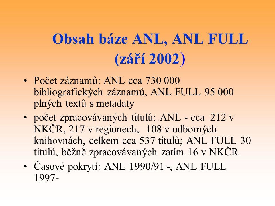 Obsah báze ANL, ANL FULL (září 2002)