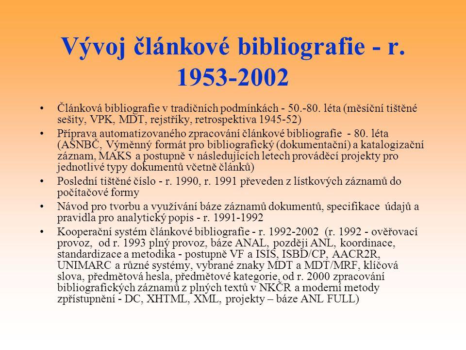 Vývoj článkové bibliografie - r. 1953-2002