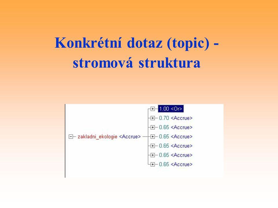 Konkrétní dotaz (topic) - stromová struktura