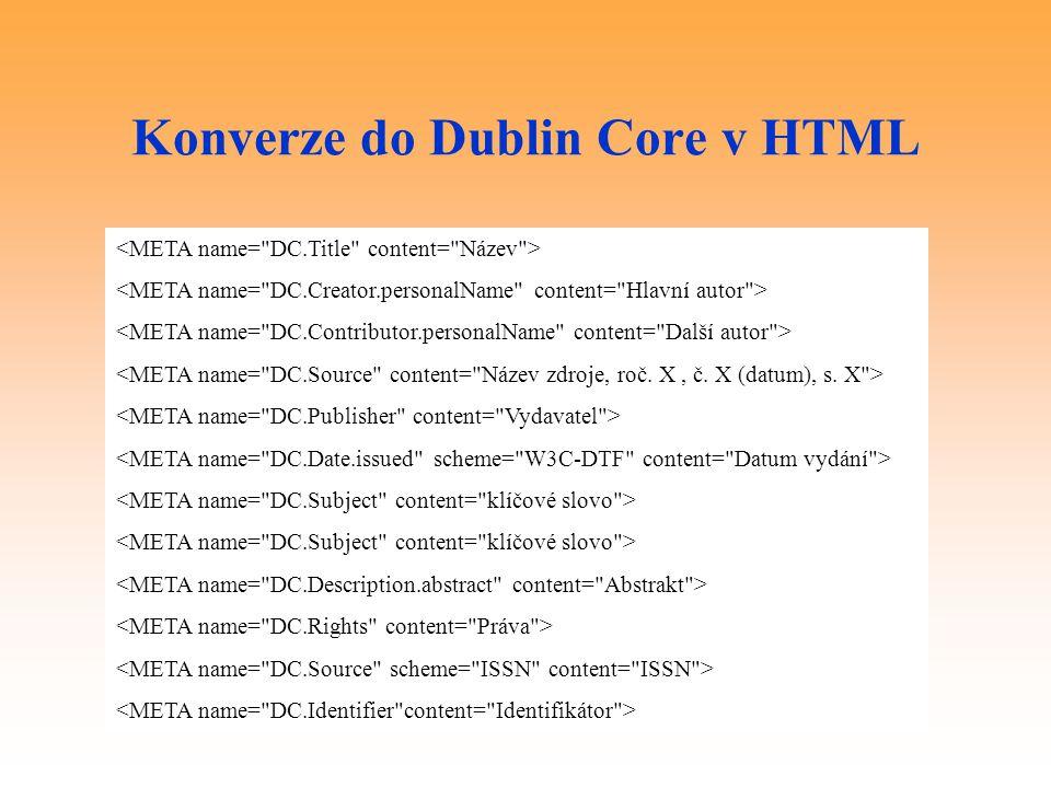 Konverze do Dublin Core v HTML