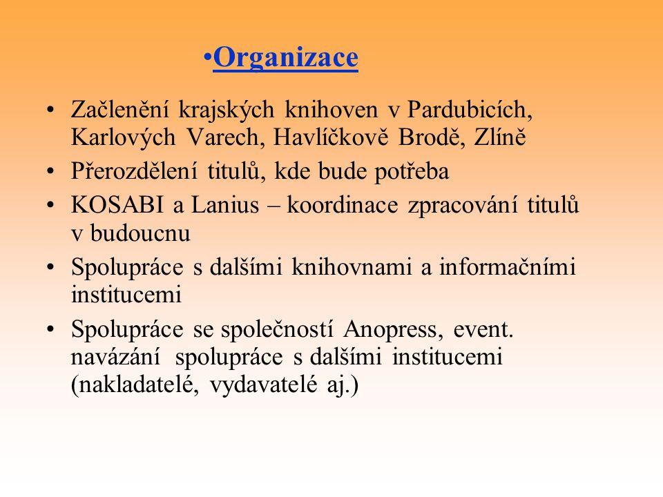 Organizace Začlenění krajských knihoven v Pardubicích, Karlových Varech, Havlíčkově Brodě, Zlíně. Přerozdělení titulů, kde bude potřeba.