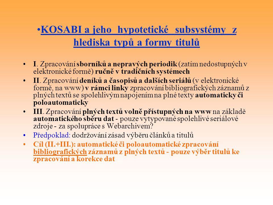 KOSABI a jeho hypotetické subsystémy z hlediska typů a formy titulů