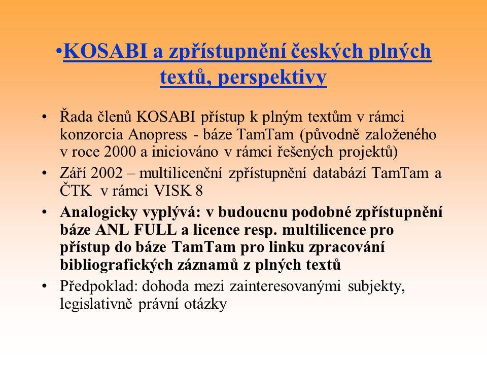 KOSABI a zpřístupnění českých plných textů, perspektivy
