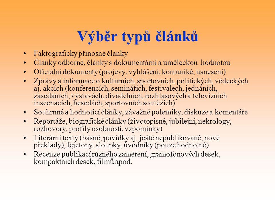 Výběr typů článků Faktograficky přínosné články