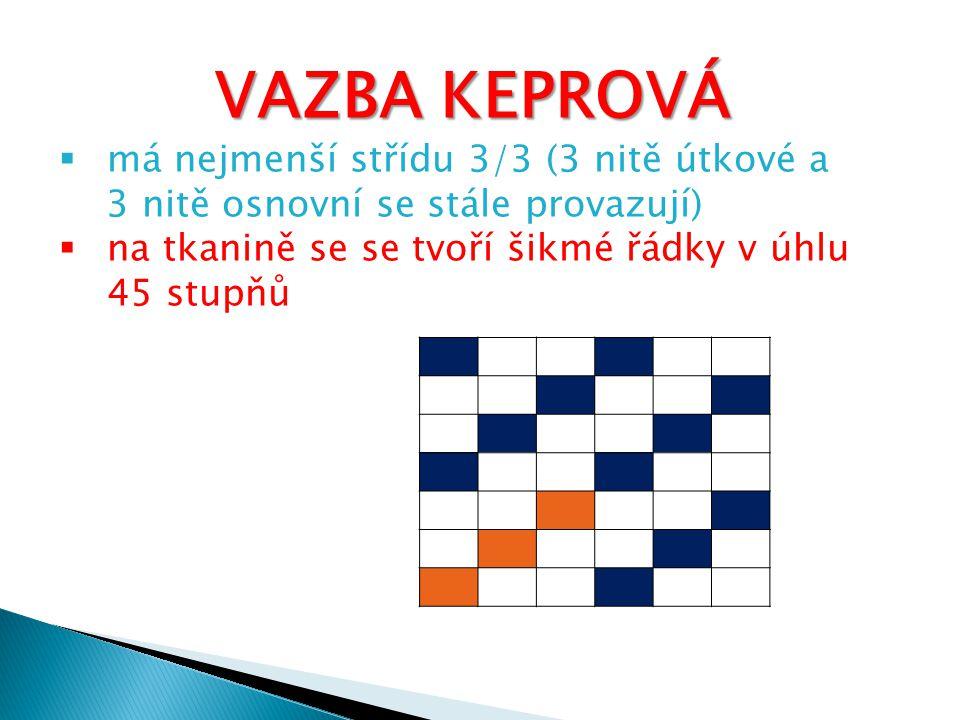 VAZBA KEPROVÁ má nejmenší střídu 3/3 (3 nitě útkové a.