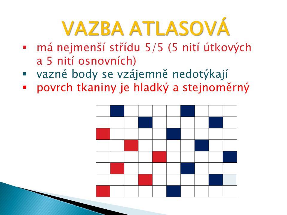 VAZBA ATLASOVÁ má nejmenší střídu 5/5 (5 nití útkových a 5 nití osnovních) vazné body se vzájemně nedotýkají.
