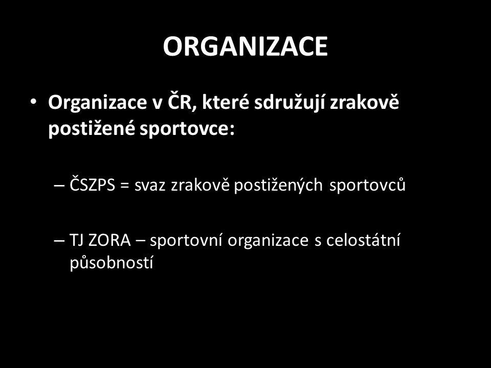 ORGANIZACE Organizace v ČR, které sdružují zrakově postižené sportovce: ČSZPS = svaz zrakově postižených sportovců.