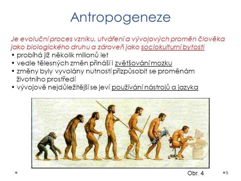 Antropogeneze Je evoluční proces vzniku, utváření a vývojových proměn člověka jako biologického druhu a zároveň jako sociokulturní bytosti.