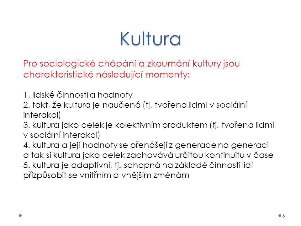 Kultura Pro sociologické chápání a zkoumání kultury jsou charakteristické následující momenty: 1. lidské činnosti a hodnoty.