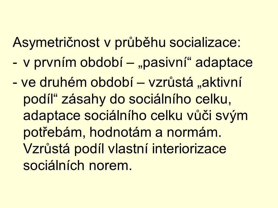 Asymetričnost v průběhu socializace: