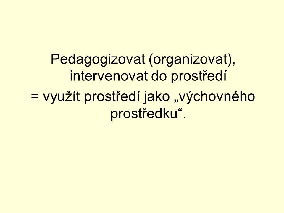 Pedagogizovat (organizovat), intervenovat do prostředí
