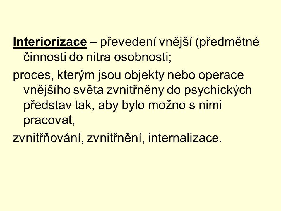 Interiorizace – převedení vnější (předmětné činnosti do nitra osobnosti;