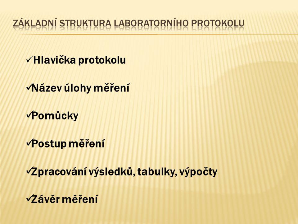 Základní struktura laboratorního protokolu