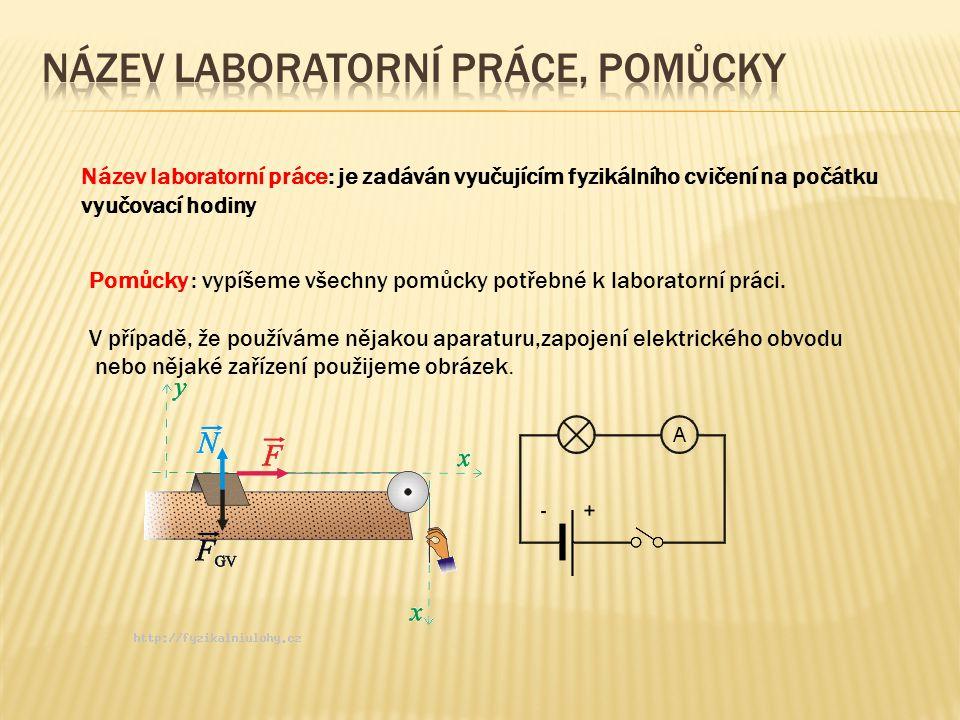 Název laboratorní práce, pomůcky