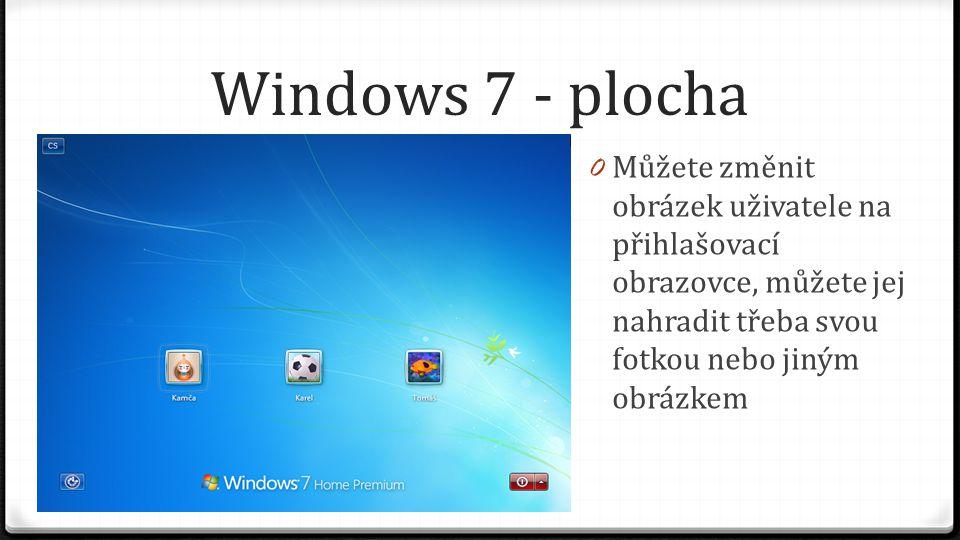 Windows 7 - plocha Můžete změnit obrázek uživatele na přihlašovací obrazovce, můžete jej nahradit třeba svou fotkou nebo jiným obrázkem.