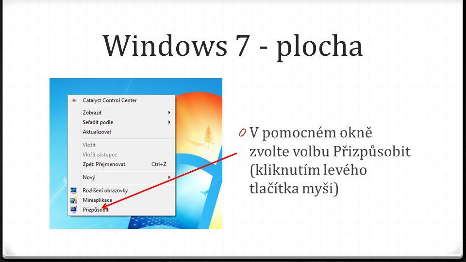 Windows 7 - plocha V pomocném okně zvolte volbu Přizpůsobit (kliknutím levého tlačítka myši)