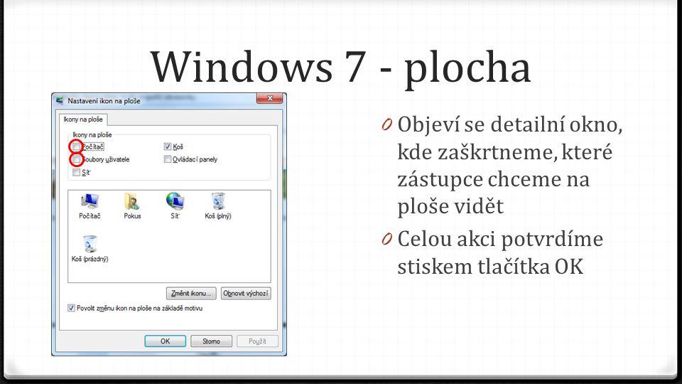 Windows 7 - plocha Objeví se detailní okno, kde zaškrtneme, které zástupce chceme na ploše vidět.